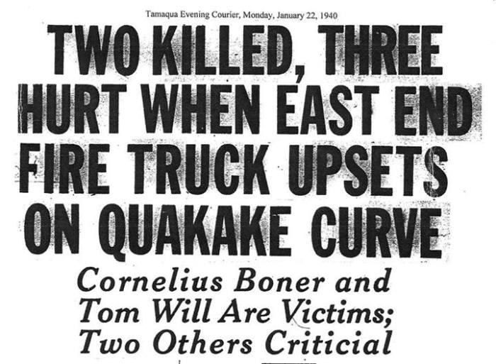 1-22-2014, Two Killed on East End Fire Truck Crash on Quakake Curve, 1-22-1940