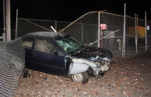 Car Crashes into Air Products Fence, Marian Avenue, Rush Township, 1-18-2014 (49)