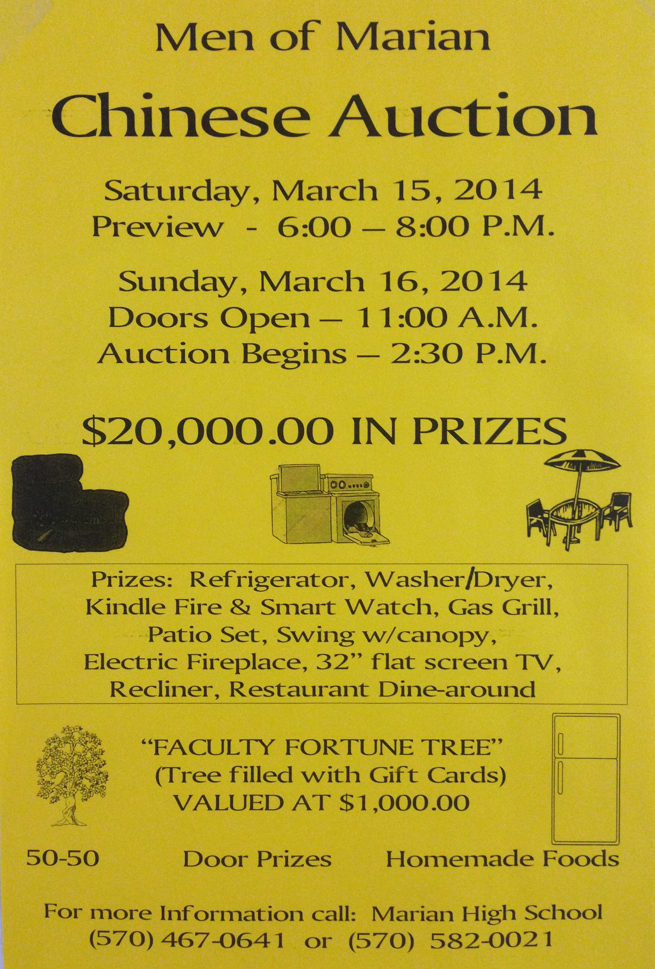 Men of Marian Chinese Auction flyer