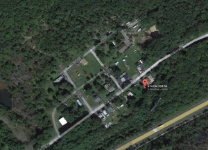 Map Location of Fire, 614 Old 209 Road, Newkirk, 4-1-2014