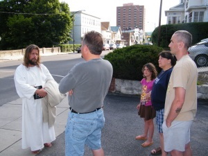 James, The Jesus Guy, visits Tamaqua, June 24, 2009 (5)