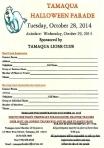10-28-2014, Tamaqua Halloween Parade REGISTRATION FORM