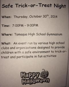 10-30-2014, Safe Trick Or Treat, Tamaqua High School, Tamaqua (2)