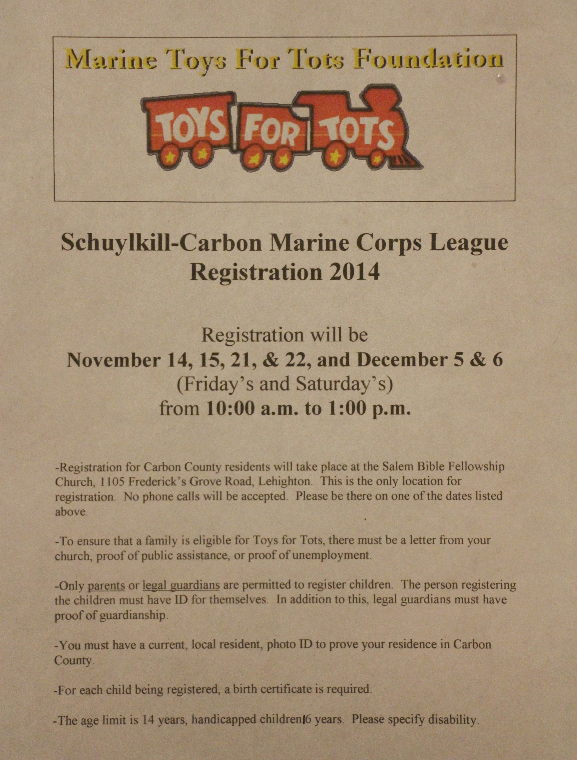 Toys For Tots Registration : Carbon county residents friday and saturday are last days