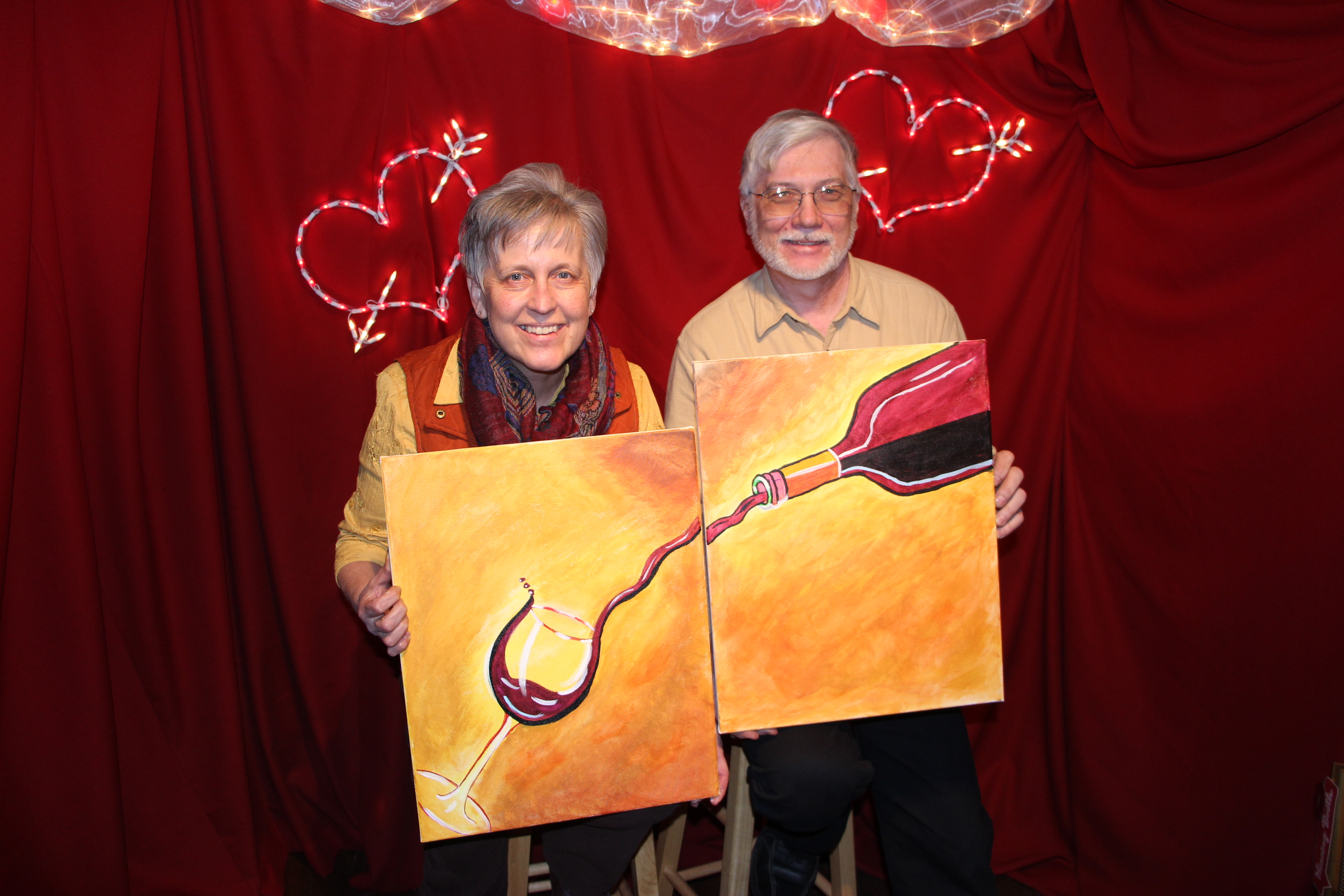 photos from couples paint sip at tamaqua community arts
