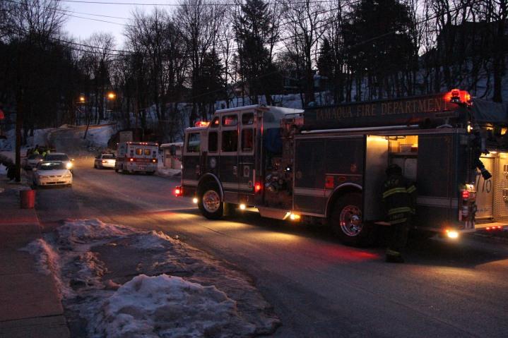Garbage Truck Snaps Pole, Crashes Into Tree, Elm Street, Tamaqua, 2-13-2015 (1)