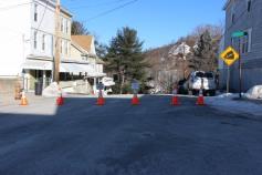Garbage Truck Snaps Pole, Crashes Into Tree, Elm Street, Tamaqua, 2-13-2015 (100)