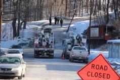 Garbage Truck Snaps Pole, Crashes Into Tree, Elm Street, Tamaqua, 2-13-2015 (104)