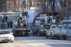 Garbage Truck Snaps Pole, Crashes Into Tree, Elm Street, Tamaqua, 2-13-2015 (105)