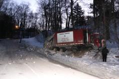 Garbage Truck Snaps Pole, Crashes Into Tree, Elm Street, Tamaqua, 2-13-2015 (14)