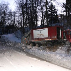 Garbage Truck Snaps Pole, Crashes Into Tree, Elm Street, Tamaqua, 2-13-2015 (14)