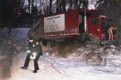 Garbage Truck Snaps Pole, Crashes Into Tree, Elm Street, Tamaqua, 2-13-2015 (15)