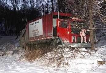 Garbage Truck Snaps Pole, Crashes Into Tree, Elm Street, Tamaqua, 2-13-2015 (21)