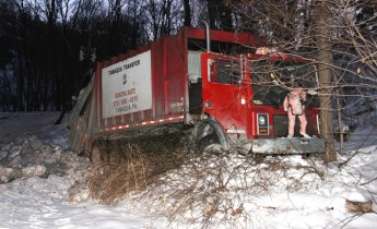 Garbage Truck Snaps Pole, Crashes Into Tree, Elm Street, Tamaqua, 2-13-2015 (21)