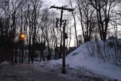 Garbage Truck Snaps Pole, Crashes Into Tree, Elm Street, Tamaqua, 2-13-2015 (31)