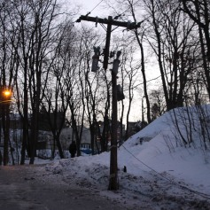 Garbage Truck Snaps Pole, Crashes Into Tree, Elm Street, Tamaqua, 2-13-2015 (31)