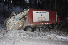 Garbage Truck Snaps Pole, Crashes Into Tree, Elm Street, Tamaqua, 2-13-2015 (32)