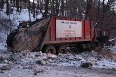 Garbage Truck Snaps Pole, Crashes Into Tree, Elm Street, Tamaqua, 2-13-2015 (37)