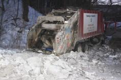 Garbage Truck Snaps Pole, Crashes Into Tree, Elm Street, Tamaqua, 2-13-2015 (38)