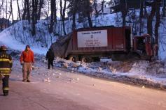 Garbage Truck Snaps Pole, Crashes Into Tree, Elm Street, Tamaqua, 2-13-2015 (4)