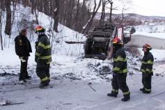 Garbage Truck Snaps Pole, Crashes Into Tree, Elm Street, Tamaqua, 2-13-2015 (43)