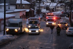 Garbage Truck Snaps Pole, Crashes Into Tree, Elm Street, Tamaqua, 2-13-2015 (45)