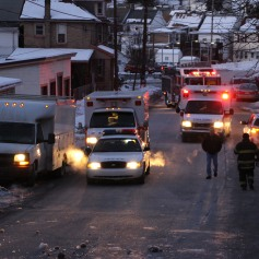 Garbage Truck Snaps Pole, Crashes Into Tree, Elm Street, Tamaqua, 2-13-2015 (45)