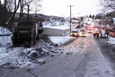 Garbage Truck Snaps Pole, Crashes Into Tree, Elm Street, Tamaqua, 2-13-2015 (51)