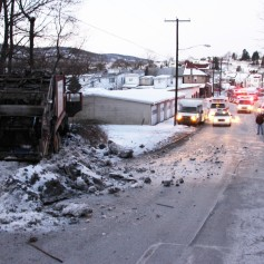 Garbage Truck Snaps Pole, Crashes Into Tree, Elm Street, Tamaqua, 2-13-2015 (51)