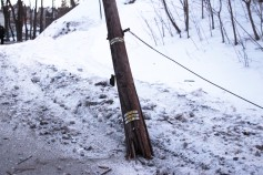 Garbage Truck Snaps Pole, Crashes Into Tree, Elm Street, Tamaqua, 2-13-2015 (55)