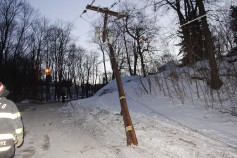 Garbage Truck Snaps Pole, Crashes Into Tree, Elm Street, Tamaqua, 2-13-2015 (56)