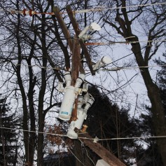 Garbage Truck Snaps Pole, Crashes Into Tree, Elm Street, Tamaqua, 2-13-2015 (57)