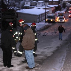 Garbage Truck Snaps Pole, Crashes Into Tree, Elm Street, Tamaqua, 2-13-2015 (61)