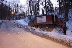 Garbage Truck Snaps Pole, Crashes Into Tree, Elm Street, Tamaqua, 2-13-2015 (9)