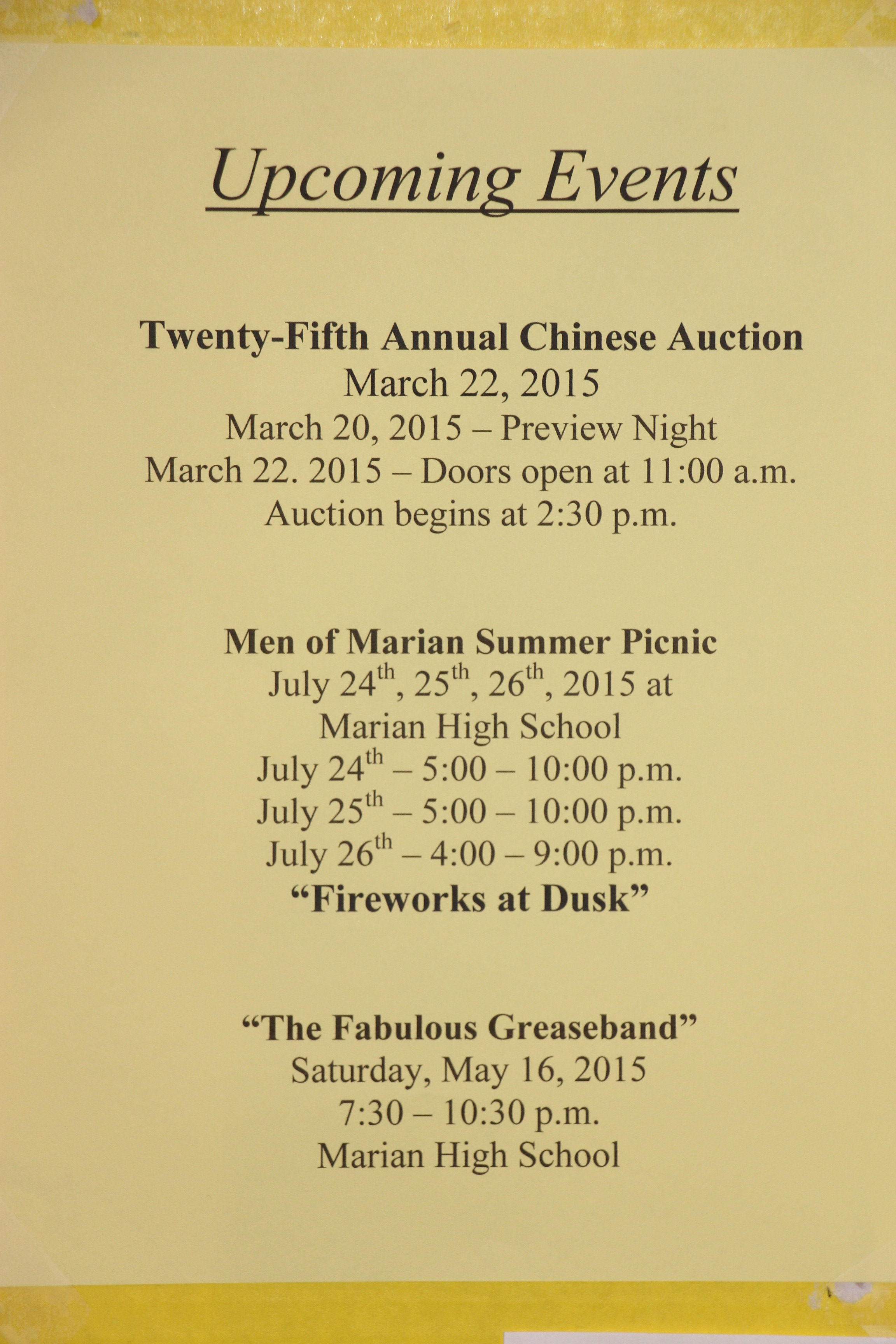 Marian Catholic Events March to July 2015