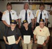 Pictured from front left are John C. Hafer (60 years), Steve Daderko (50 years) and Earl Bridygham (70 years). From back left are David Meredith (adjutant), Frank Bobick (Sons of the American Legion), and Jack Kulp (Sgt At Arms and 2nd Vice Commander).