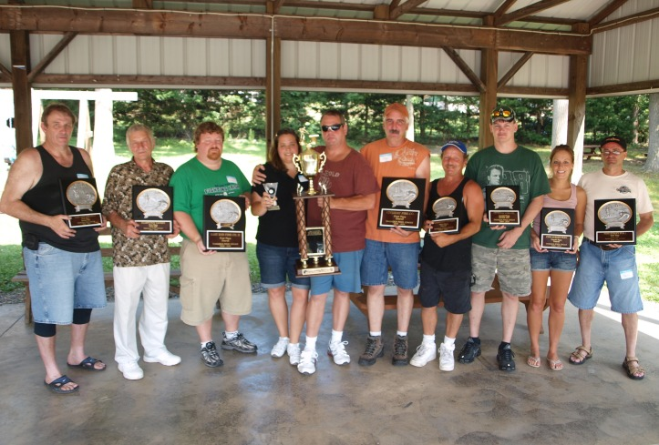Tamaqua Pool League Awards The Tamaqua Pool League held their annual picnic at the West Penn Rod and Gun Club recently. Awards and trophies were given to individuals and teams for various categories. They include, from left, Willis Garber (representing overall team winner Tamaqua East End Fire Co II); Sonny Triano (representing first half team winner Clamtown Tavern); Brian McHale (representing second Half team winner Tamaqua East End Fire Co. II); Nicole Nester and Scott Benjamin (representing round robin championship team Still Creek Tavern Team); Jimbo Kachelries (representing overall team winner Tamaqua Citizens Fire Company); Bill Mellor (representing third place overall team Clamtown Tavern); Harry Heffelfinger (representing second half second place team Tamaqua Citizen's Fire Company); Stacey Mika and Nails Knoblauch (representing fourth place overall team Pine Street Pub).