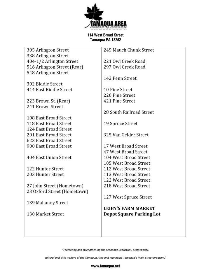 7-31-2015, List of Yard Sale addresses, Tamaqua Community Yard Sale, Sidewalk Sale, Tamaqua