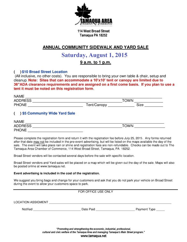 8-1-2015, Registration Form, Tamaqua Community Sidewalk and Yard Sale, Tamaqua