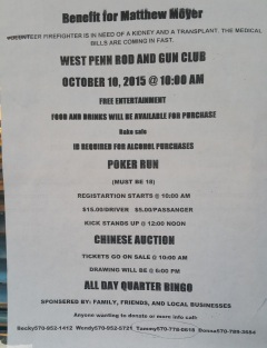 10-10-2015, Benefit and Poker Run for Firefighter Matthew Moyer, West Penn Rod and Gun Club, West Penn