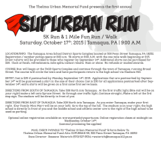 10-17-2015, SubUrban 5K Run, 1 Mile Fun Run and Walk, TASD Sports Stadium and Through Tamaqua