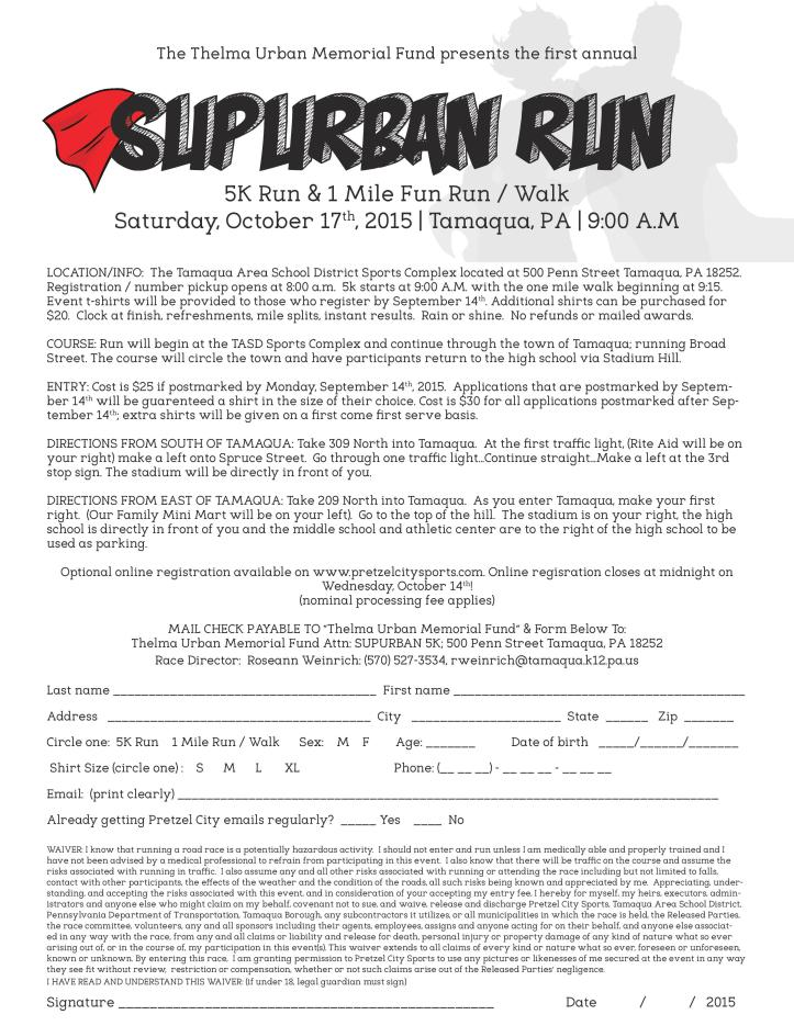 10-17-2015, Supurban 5K Application, Thelma Urban, TASD Sports Stadium, Tamaqua