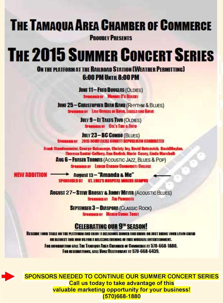 6-11, 6-25, 7-9, 7-23, 8-6, 8-13, 8-27, 9-3-2015, Summer Concert Series, Chamber of Commerce, Train Station, Tamaqua