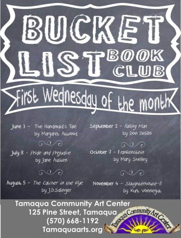 6-3, 7-8, 8-5, 9-2, 10-7, 11-4-2015, Bucket List Book Club, Community Arts Center, Tamaqua