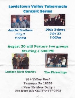 7-2, 23, 8-20-2015, Concert Series, Lewistown Valley Tabernacle, Walker Township
