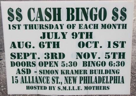 7-9, 8-6, 9-3, 10-1, 11-5-2015, Cash Bingo, S.M.I.L.E. Mothers, Simon Kramer Building, New Philadelphia