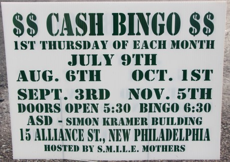 7-9, 8-6, 9-3, 10-1, 11-5-2015, Cash Bingo, S.M.I.L.E. Mothers, Simon Kramer Building, New Philadelphia