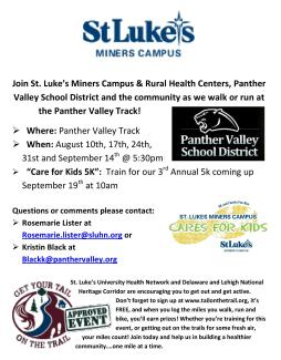 8-10, 17, 24, 31, 9-14-2015, St Luke's Walk Flyer, Panther Valley Stadium, Lansford
