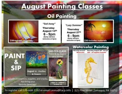 8-11-12-13-20-27-2015, Painting Classes, Tamaqua Community Arts Center, Tamaqua