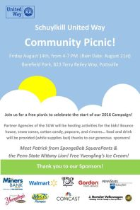 8-14-2015, Schuylkill United Way Community Picnic, Barefield Park, Pottsville